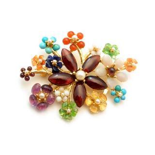 《送料無料》SWOBODA(スワボダ)☆カラフルな天然石キャンディお花畑のブローチ