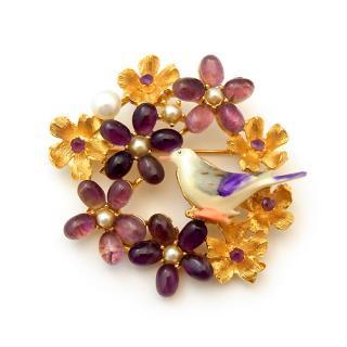《送料無料》SWOBODA(スワボダ)☆本真珠とアメジスト天然石のお花畑とパープル小鳥のブローチ