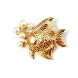 パールのバブル・エンゼルフィッシュ魚のヴィンテージ・ブローチ