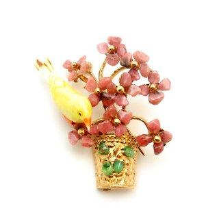《送料無料》SWOBODA(スワボダ)☆キャンディのような天然石フラワーポットと黄色い小鳥のブローチ