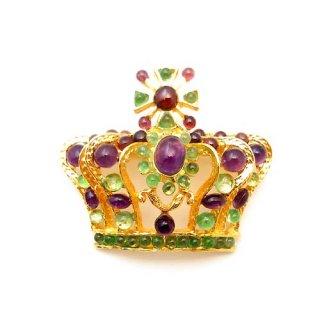《送料無料》SWOBODA(スワボダ)☆アメジストとペリドット天然石のシックな王冠のブローチ