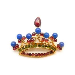 《送料無料》SWOBODA(スワボダ)☆アマゾナイト・ガーネット天然石の王冠のブローチ