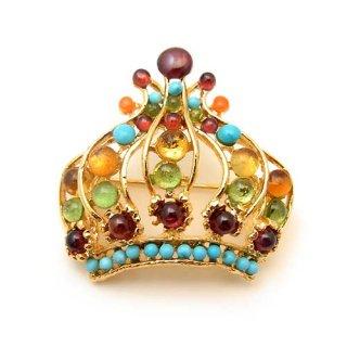 《送料無料》SWOBODA(スワボダ)☆マルチカラー天然石の王冠のブローチ