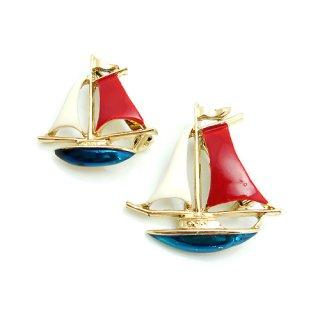【アウトレット】Gerry's(ゲーリーズ)☆トリコロール・セイルボート/ヨットのヴィンテージ・ブローチ【大小2個セット】