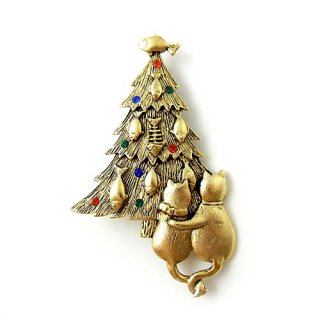 JJ(ジェイジェイ)☆お魚デコレーションのクリスマスツリーとネコのヴィンテージ・ブローチ【アンティークゴールド】