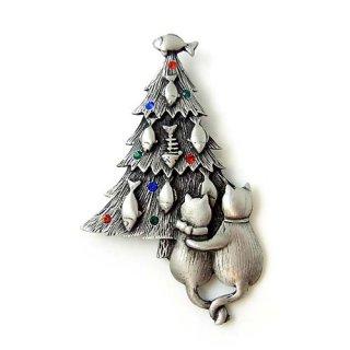 JJ(ジェイジェイ)☆お魚デコレーションのクリスマスツリーとネコのヴィンテージ・ブローチ【シルバー】