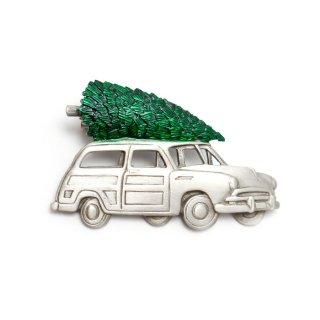 JJ(ジェイジェイ)☆クリスマスツリーを運ぶオールド・ウッディワゴン車のヴィンテージ・ブローチ【デッドストック】