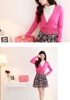 鮮やかカラーのショートカーディガン(ピンク)