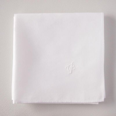レディのためのハンカチ 白糸刺繍
