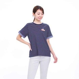 【生産終了品】いちごプリントボーダーTシャツ(ネイビー)L 392105-84 PR