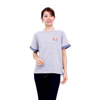 【生産終了品】いちごプリントボーダーTシャツ(グレー)L 392105-93 PR