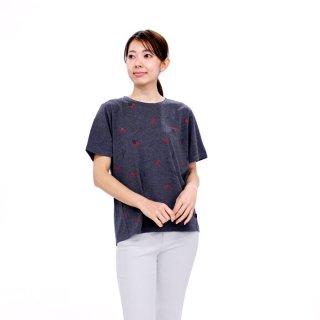 【生産終了品】いちごプリント切り替えTシャツ(チャコール)M 392107-94 PR