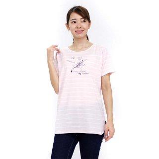 ボーダーロング丈Tシャツ(ピンク)M 392124 PR