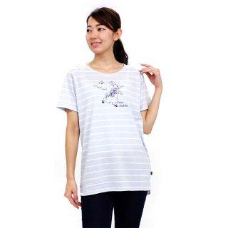 ボーダーロング丈Tシャツ(サックス)M 392124 PR
