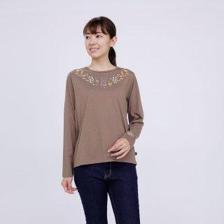 フラワー長袖Tシャツ(モカ)L 394103-53 PR