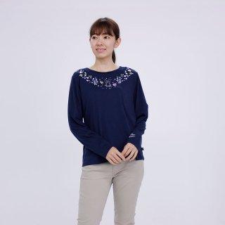 フラワー長袖Tシャツ(ネイビー)L 394103-84 PR