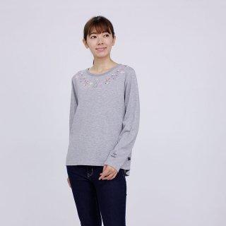 フラワー長袖Tシャツ(杢グレー)L 394103-93 PR