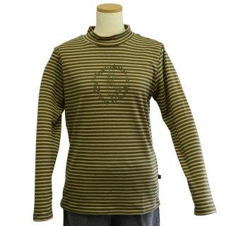 ボーダーリース長袖Tシャツ(カーキ)M 394142-64 PR