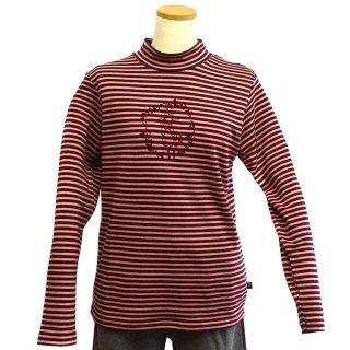 ボーダーリース長袖Tシャツ(ワイン)M 394142-74 PR