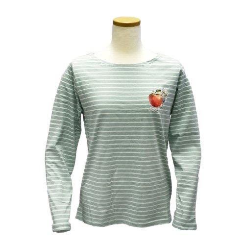 ボートネックボーダーTシャツ(ライトグリーン) L 301121-61 PR
