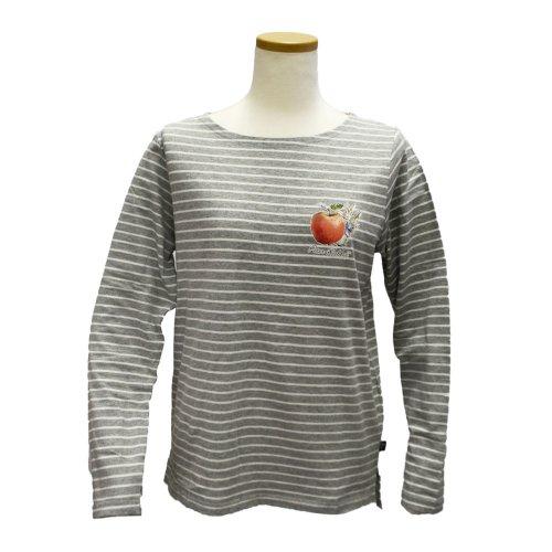 ボートネックボーダーTシャツ(杢グレー) L 301121-93 PR