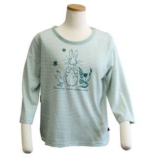 7分袖ボーダーTシャツ(ライトグリーン) L 301142-61 PR