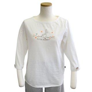 7分袖ボートネックTシャツ(オフホワイト) LL 301144-12 PR