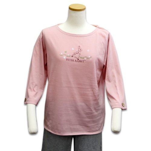 7分袖ボートネックTシャツ(ピンク) L 301144-41 PR