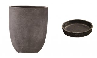 【 専用受皿 付き 】 ビアス アルトエッグ 43 x H 50 cm / 軽量 / 植木 鉢 プランター 【 グレー 】 / 送料無料