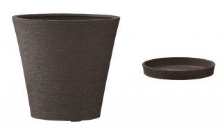 【 専用受皿 付き 】 ビアス ソリッド 43 x H 40 cm / 軽量 / 植木 鉢 プランター 【 ブラック 】 / 送料無料