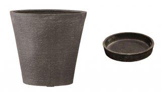 【 専用受皿 付き 】 ビアス ソリッド 43 x H 40 cm / 軽量 / 植木 鉢 プランター 【 グレー 】 / 送料無料