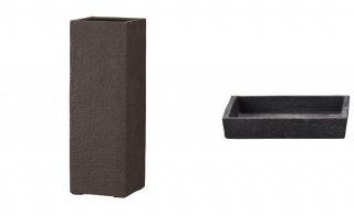 【 専用受皿 付き 】 ビアス クアドラ 22 x H 65 cm / 軽量 / 植木 鉢 プランター 【 ブラック 】 / 送料無料
