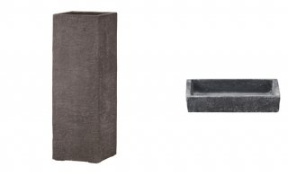 【 専用受皿 付き 】 ビアス クアドラ 40 x H 100 cm / 軽量 / 植木 鉢 プランター 【 グレー 】 / 送料無料