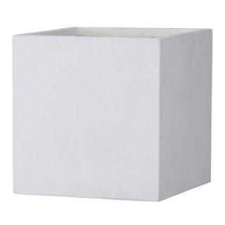 バスク キューブ 40 cm / 軽量 コンクリート / 植木 鉢 プランター 【 ホワイト 】 / 送料無料