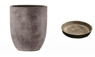 【 専用受皿 付き 】 フォリオ アルトエッグ 43 x H 50 cm / 軽量 コンクリート / 植木 鉢 プランター  【 ブラック ウォシュ 】 / 送料無料