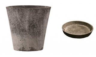 【 専用受皿 付き 】 フォリオ ソリッド 43 x H 40 cm / 軽量 コンクリート / 植木 鉢 プランター  【 ブラック ウォシュ 】 / 送料無料