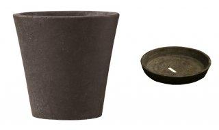 【 専用受皿 付き 】 フォリオ ソリッド 43 x H 40 cm / 軽量 コンクリート / 植木 鉢 プランター  【 ダーク ブラウン 】 / 送料無料
