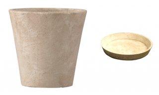 【 専用受皿 付き 】 フォリオ ソリッド 43 x H 40 cm / 軽量 コンクリート / 植木 鉢 プランター  【 クリーム 】 / 送料無料