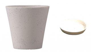 【 専用受皿 付き 】 フォリオ ソリッド 43 x H 40 cm / 軽量 コンクリート / 植木 鉢 プランター  【 ホワイト 】 / 送料無料
