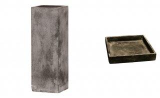 【 専用受皿 付き 】 フォリオ クアドラ 22 x H 65 cm / 軽量 コンクリート / 植木 鉢 プランター  【 ブラック ウォシュ 】 / 送料無料