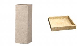 【 専用受皿 付き 】 フォリオ クアドラ 22 x H 65 cm / 軽量 コンクリート / 植木 鉢 プランター  【 クリーム 】 / 送料無料