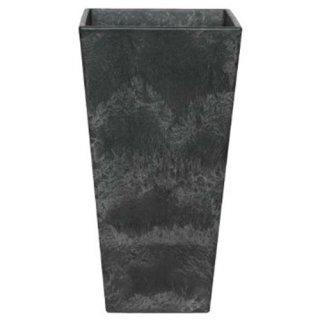 アートストーン トール スクエアー 26 x H 49 cm / 軽量 / 植木 鉢 プランター 【 ブラック 】 / 送料無料