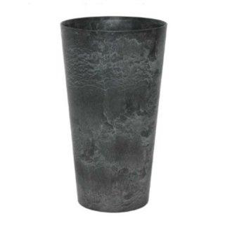 アートストーン トール ラウンド 28 x H 49 cm / 軽量 / 植木 鉢 プランター 【 ブラック 】 / 送料無料