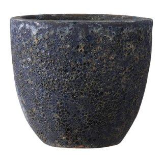 ボルカーノ ラウンド 33 cm / テラコッタ / 植木 鉢 プランター 【 ブルー 】 / 送料無料