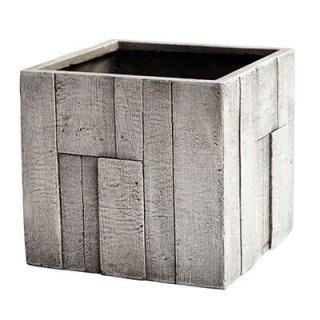 パターン キューブ 44 cm / 軽量 コンクリート / 植木 鉢 プランター 【 ホワイトグレー ウッド 】 / 送料無料