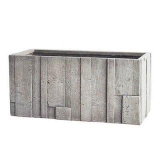 パターン プランター 80 cm / 軽量 コンクリート / 植木 鉢 プランター 【 ホワイトグレー ウッド 】 / 送料無料
