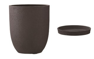 【 専用受皿 付き 】 ビアス アルトエッグ 31 x H 36.5 cm / 軽量 / 植木 鉢 プランター 【 ブラック 】 / 送料無料