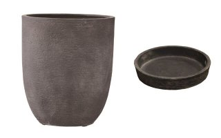【 専用受皿 付き 】 ビアス アルトエッグ 31 x H 36.5 cm / 軽量 / 植木 鉢 プランター 【 グレー 】 / 送料無料