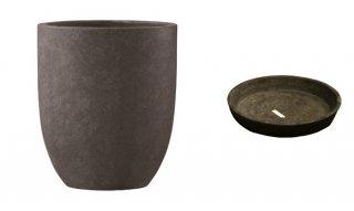 【 専用受皿 付き 】 フォリオ アルトエッグ 31 x H 36.5 cm / 軽量 コンクリート / 植木 鉢 プランター 【 ダーク ブラウン 】 / 送料無料