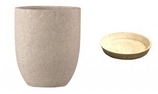 【 専用受皿 付き 】 フォリオ アルトエッグ 31 x H 36.5 cm / 軽量 コンクリート / 植木 鉢 プランター 【 クリーム 】 / 送料無料